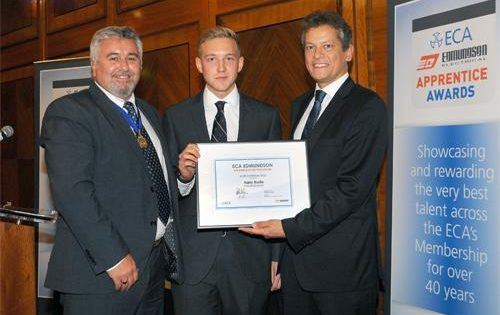ECA judges go wild about Harry Bartle of Chris Bowker Ltd – winner of the ECA Edmundson Apprentice of the Year Award