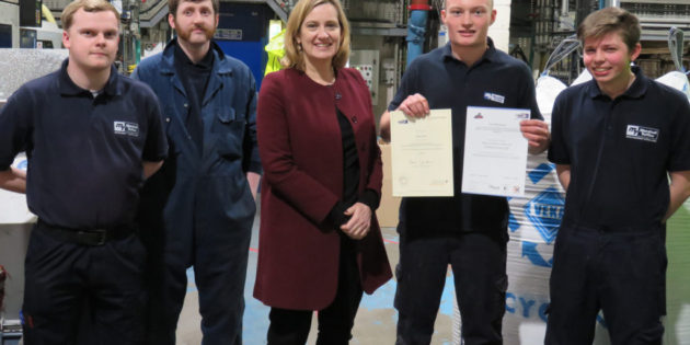 Marshall-Tufflex engineering apprentice Josh receives award from Home Secretary